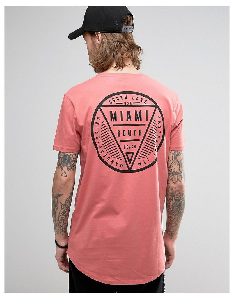 ASOS Super Longline T-Shirt With Miami Print And Curve Hem - Pink