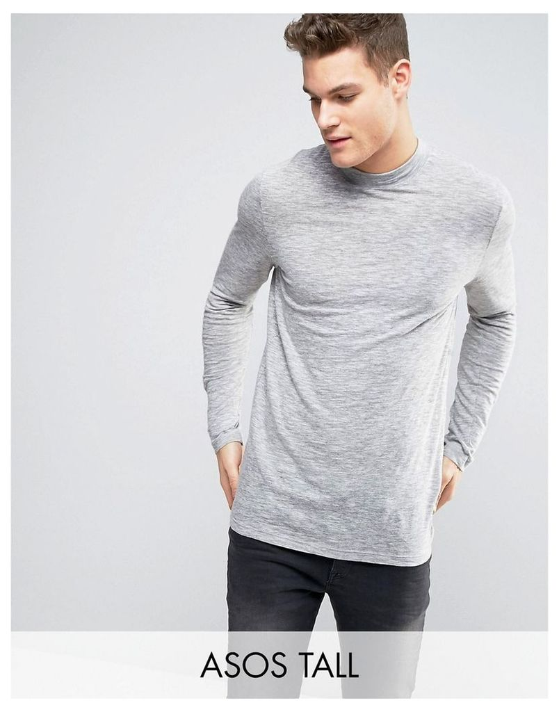 ASOS TALL Long Sleeve T-Shirt In Grey Textured Fabric With Turtle Neck - Light grey