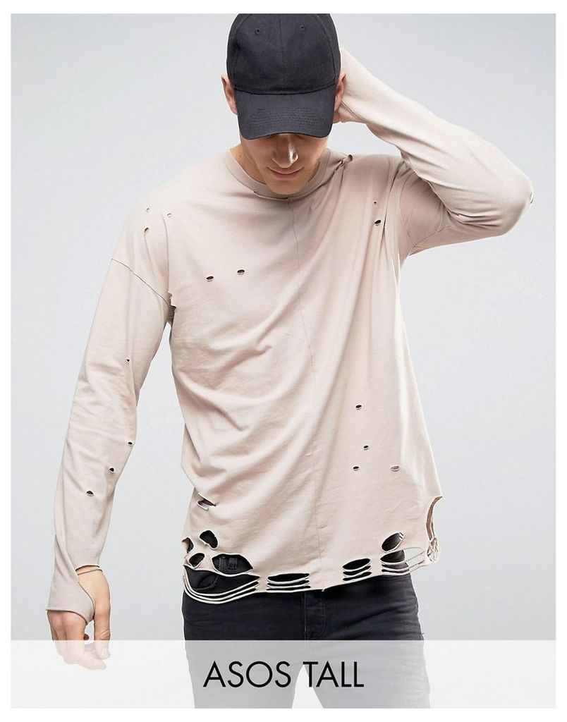 ASOS TALL Oversized Long Sleeve T-Shirt In Beige With Extreme Distress - Cardboard