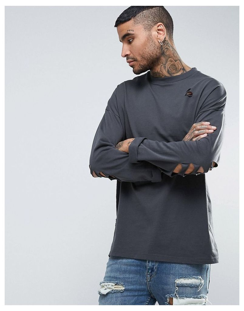 ASOS Oversized Long Sleeve T-Shirt In Washed Black With Distressing - Washed black