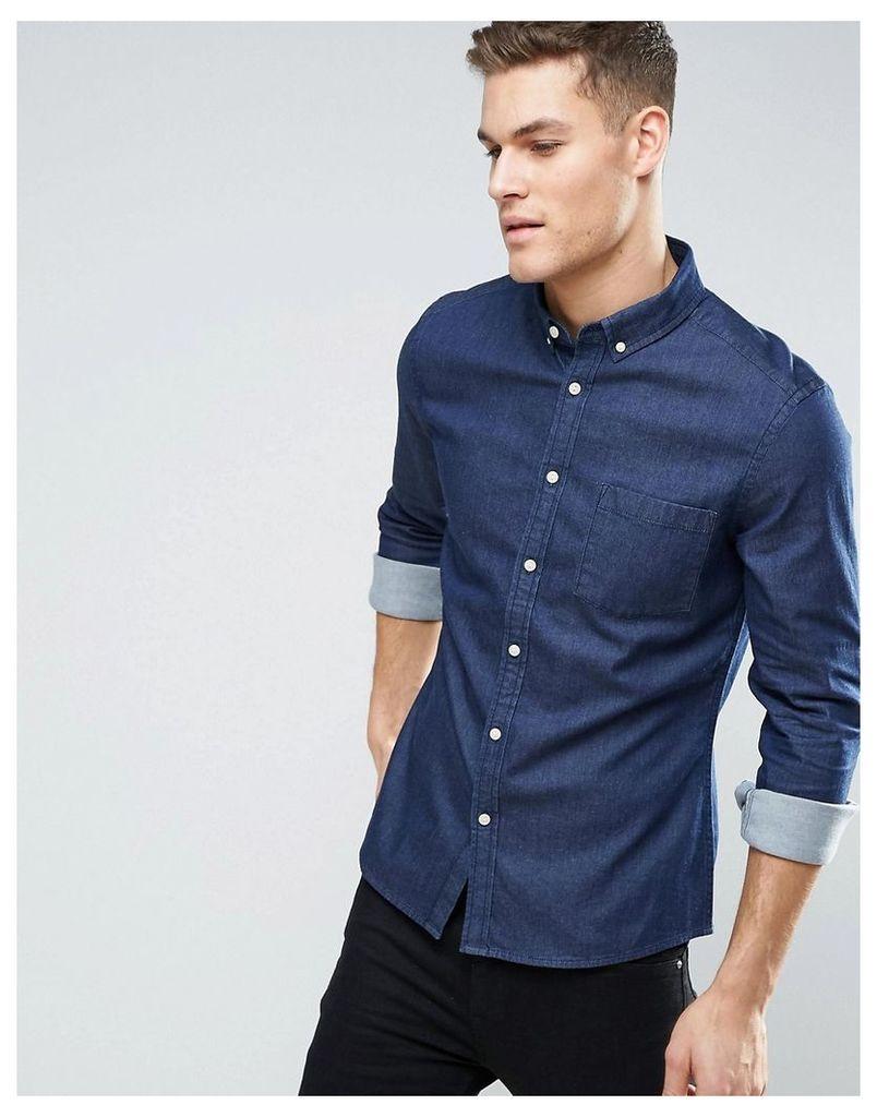 ASOS Slim Denim Shirt In Rinse Wash - Rinse wash