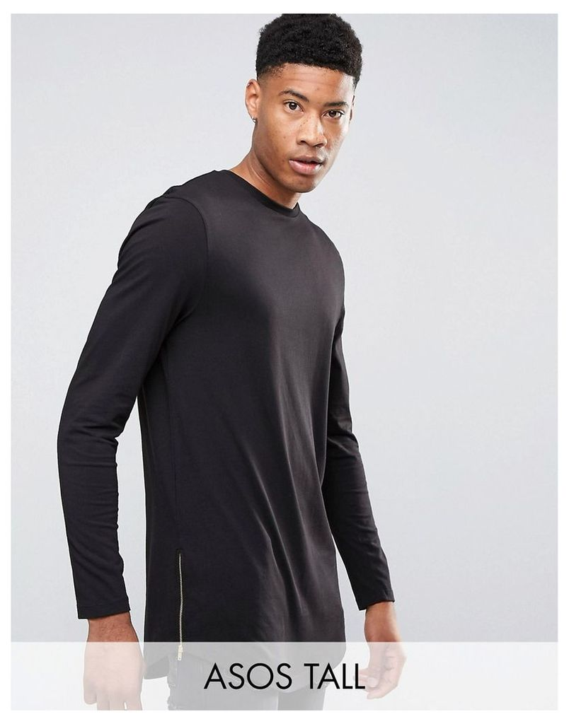ASOS TALL Super Longline Long Sleeve T-Shirt With Curved Hem And Zips - Black