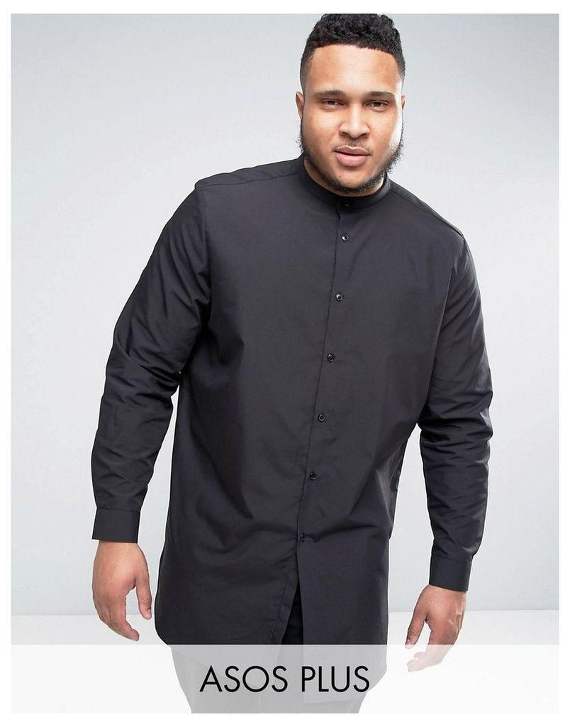ASOS PLUS Super Longline Shirt With Grandad Collar In Black - Black