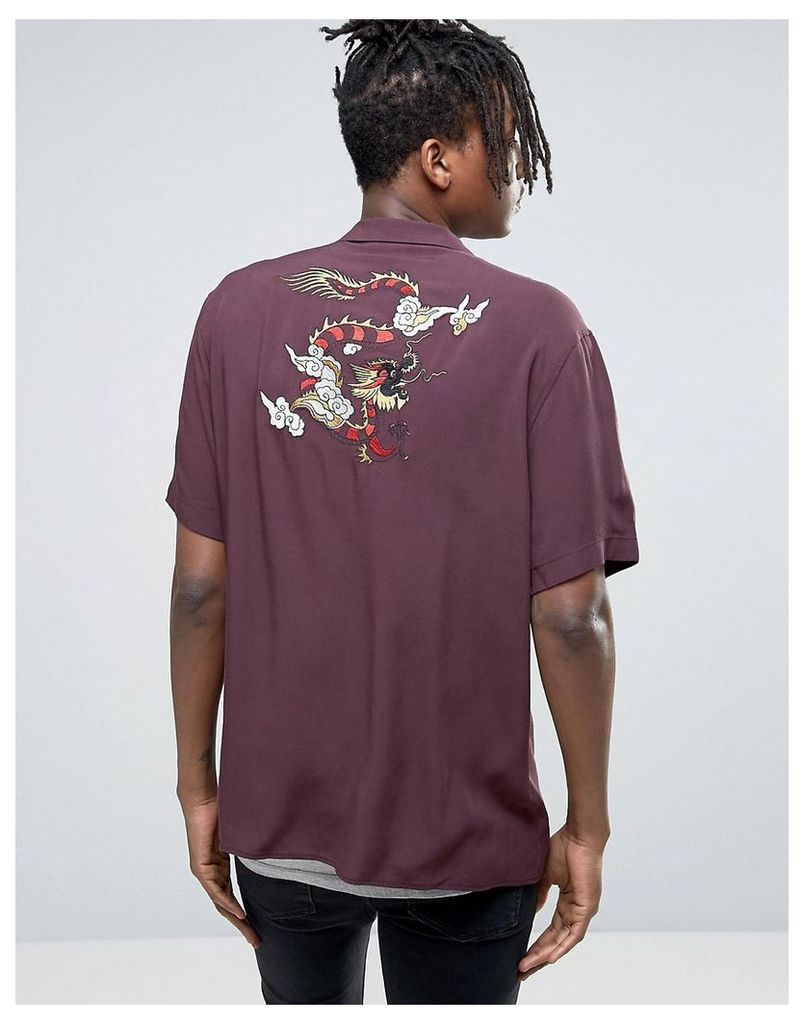 ASOS Regular Fit Viscose Shirt With Dragon Embroidery - Burgundy