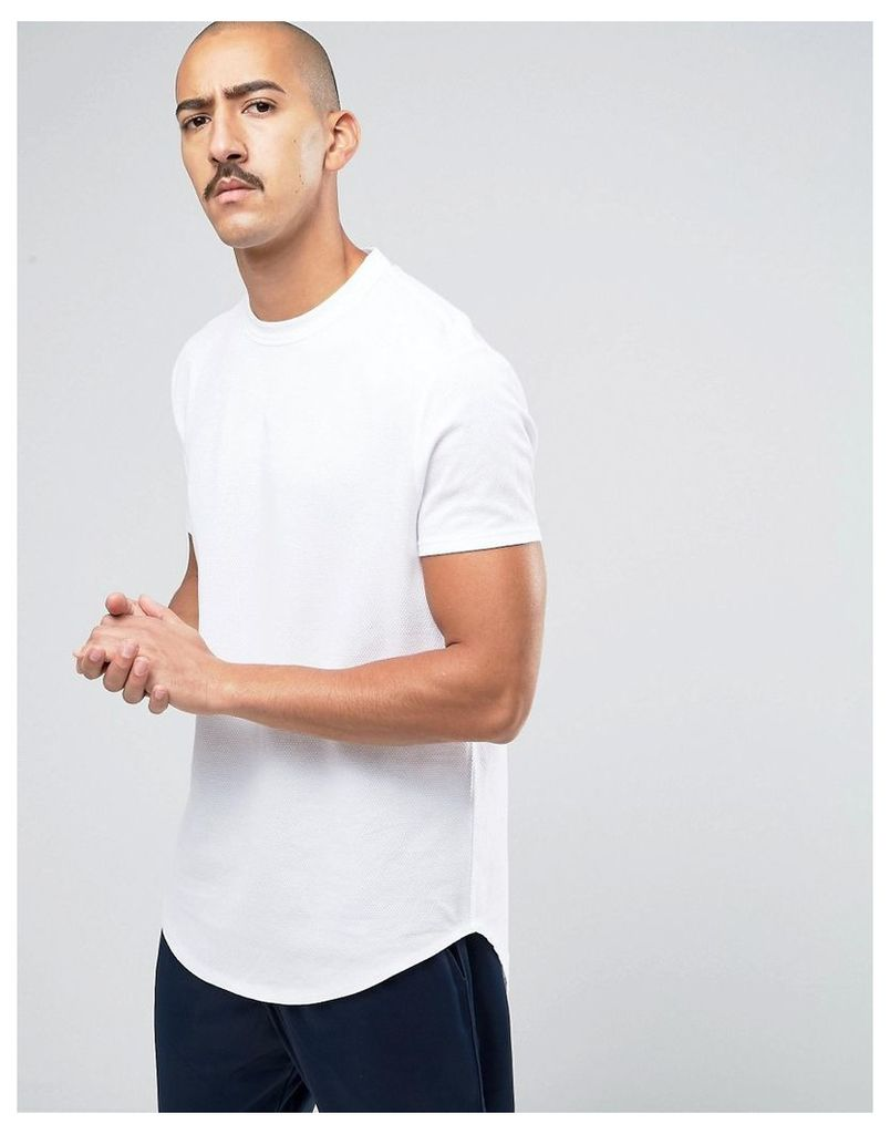 ASOS Super Longline T-Shirt With Curved Front And Back Hem In White Heavy Mesh Fabric - White