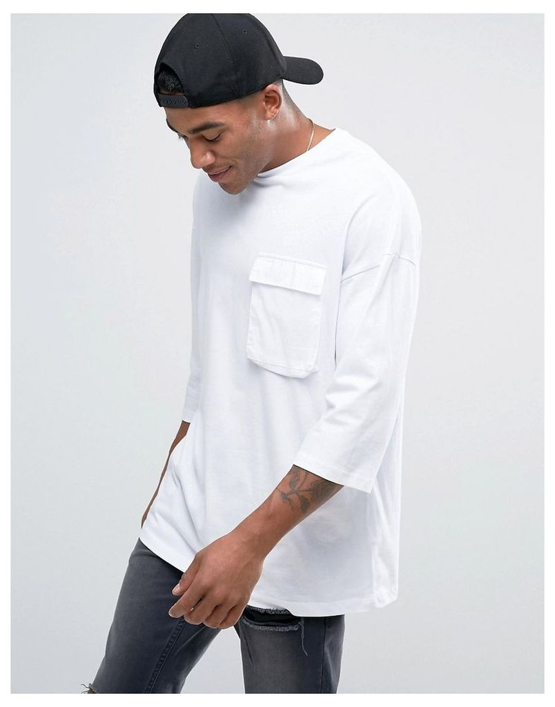 ASOS Super Longline T-Shirt With 3/4 Sleeve And Woven Pockets - White