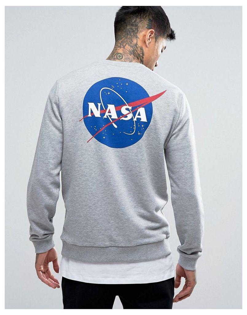 ASOS Sweatshirt With Nasa Print In Grey Marl - Grey marl