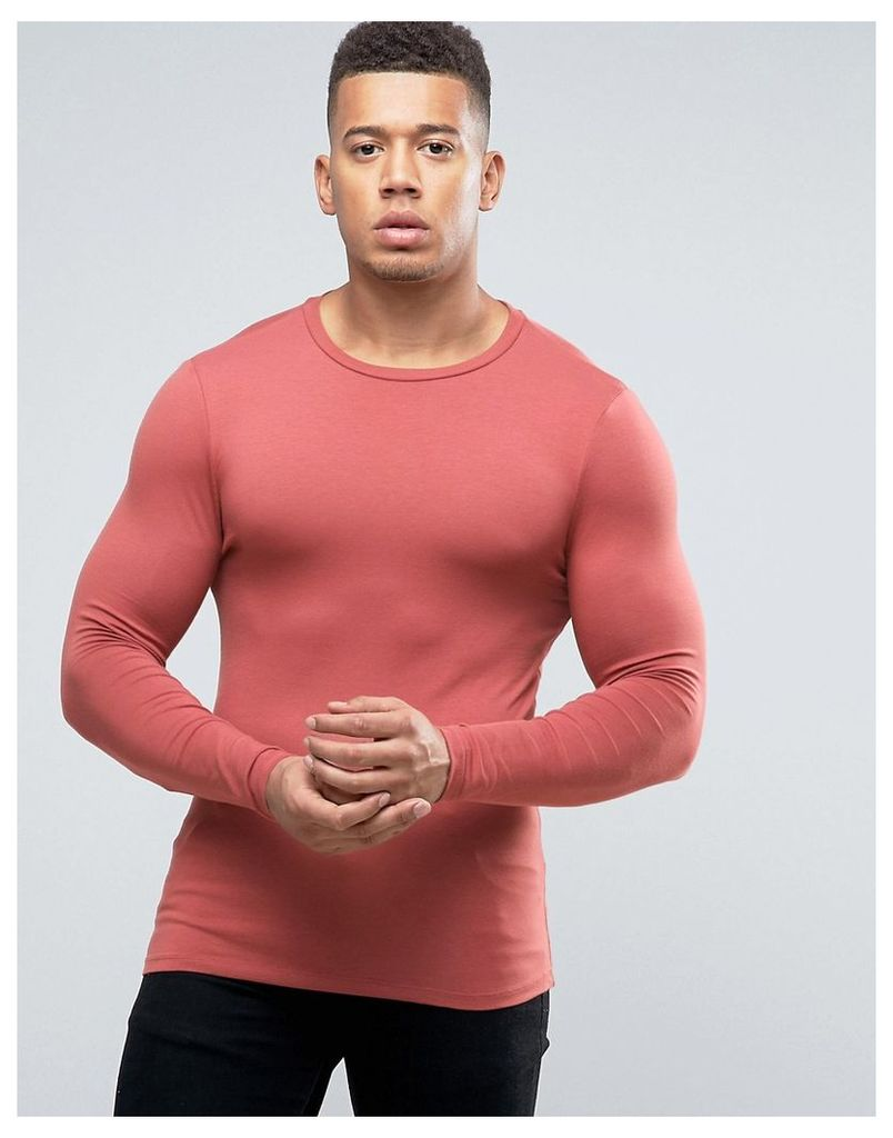 ASOS Extreme Muscle Long Sleeve T-Shirt In Pink - Red