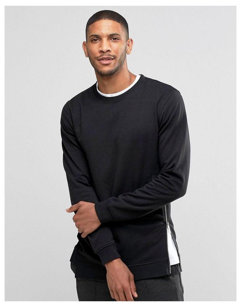 Lindbergh Sweatshirt With Side Zip In Black - Black