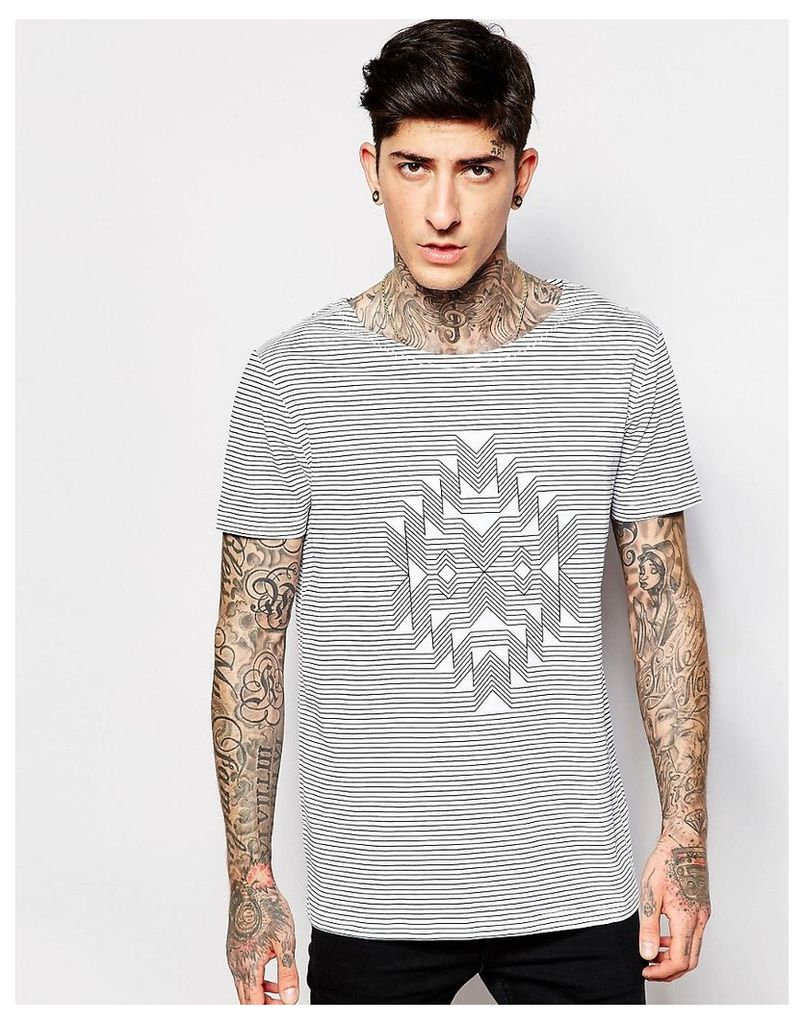 ASOS T-Shirt With Boat Neck In Aztec Stripe Design - White