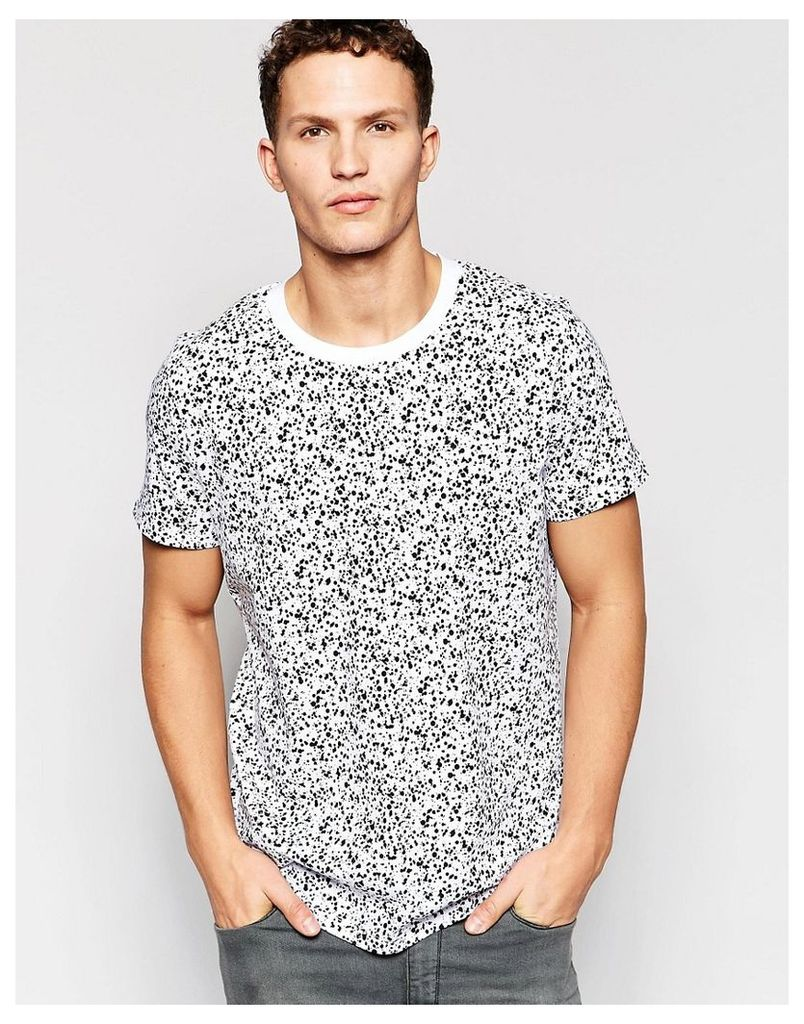 Jack & Jones Oversized T-Shirt with All Over Paint Print - White