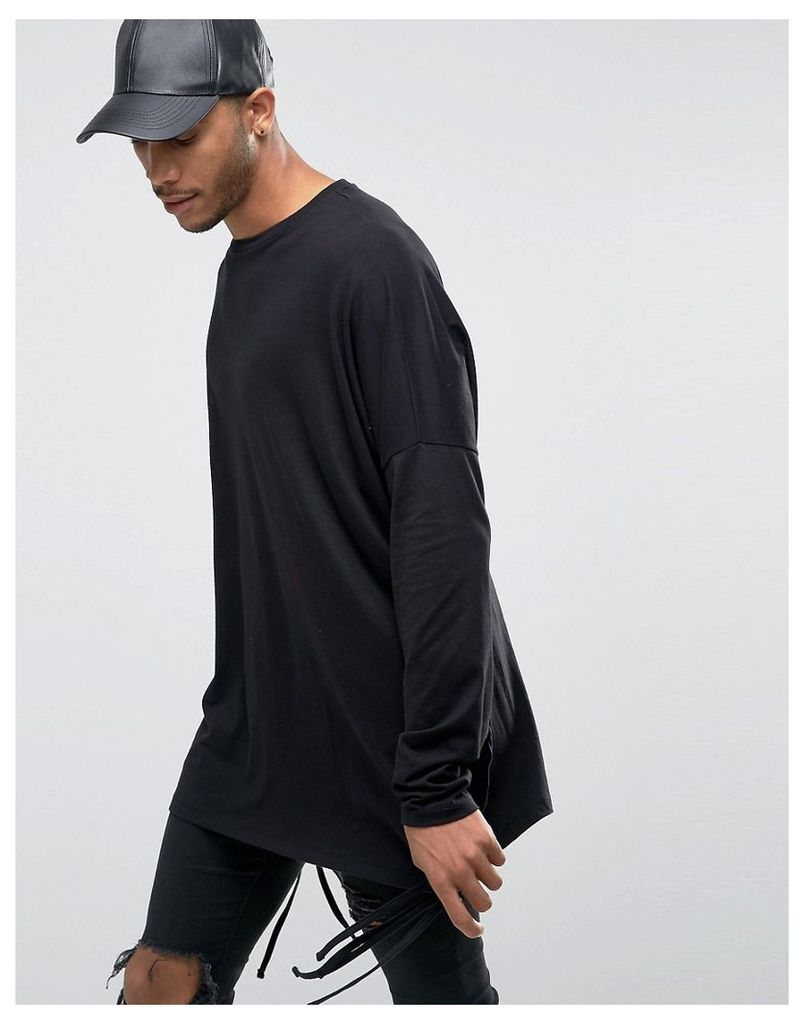 ASOS Oversized Long Sleeve T-Shirt With Strap Detail - Black