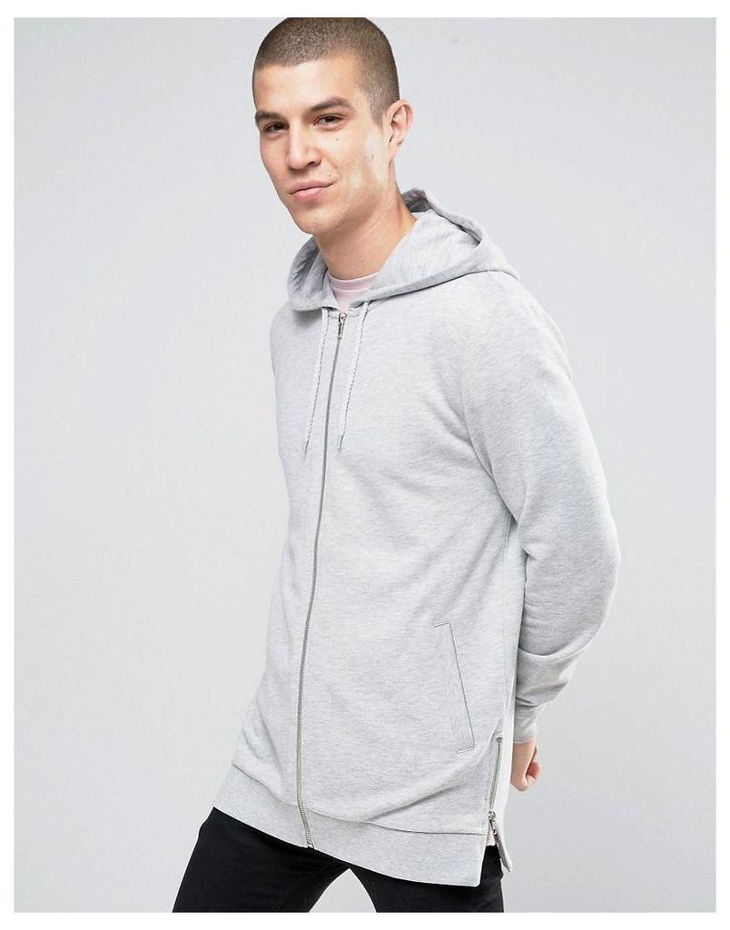 ASOS Longline Hoodie With Side Zips In Grey Marl - Grey marl
