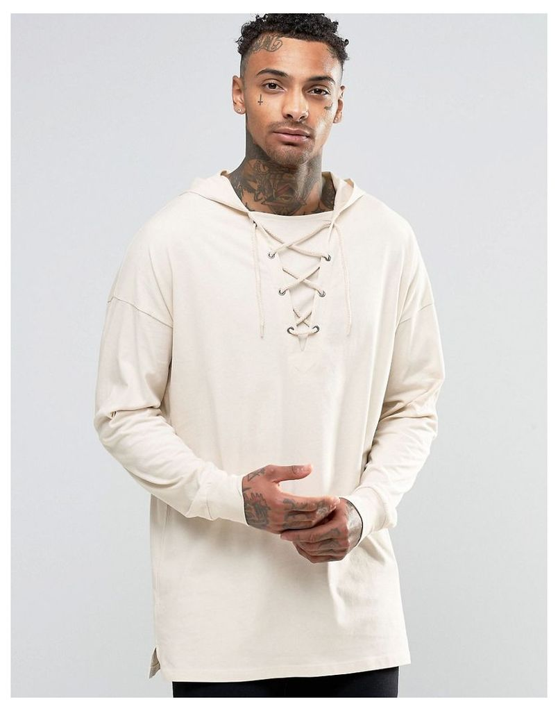 ASOS Oversized Longline Long Sleeve T-Shirt With Lace up Hood In Off White - Off white
