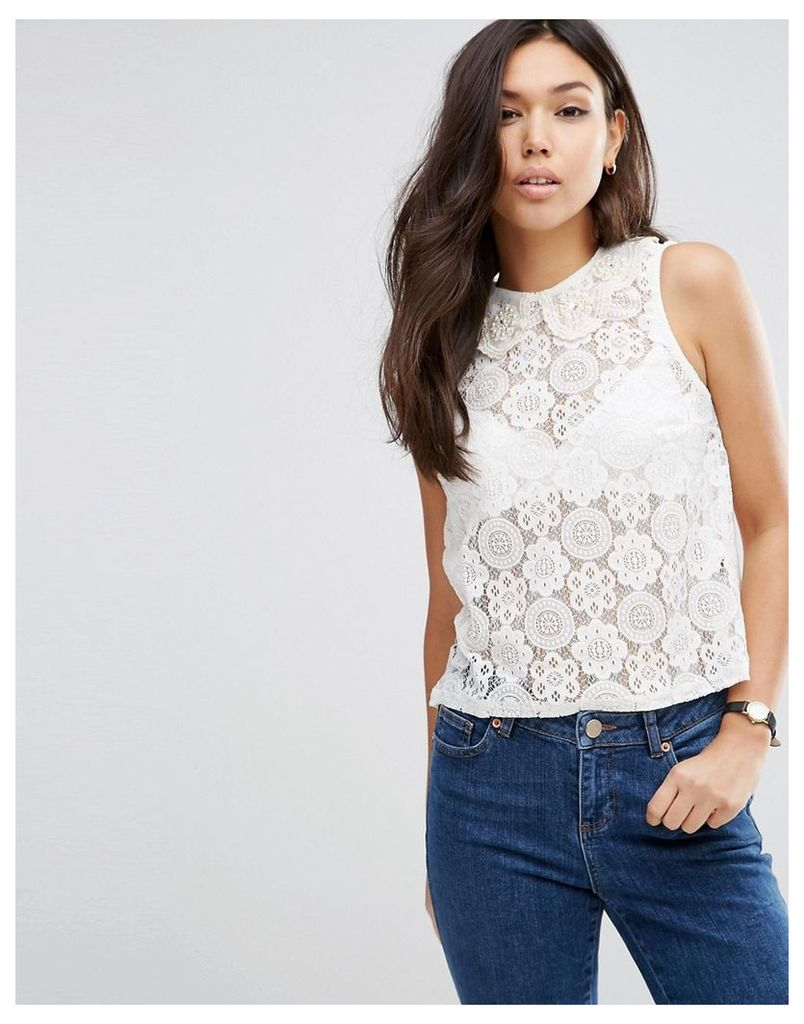 ASOS Top In Lace With Embellished Collar - Cream