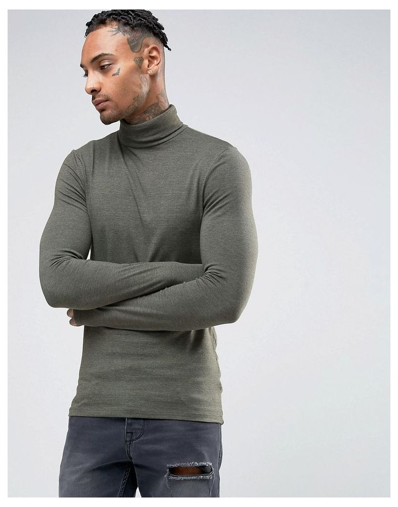 ASOS Extreme Muscle Long Sleeve T-Shirt With Roll Neck In Khaki - Khaki