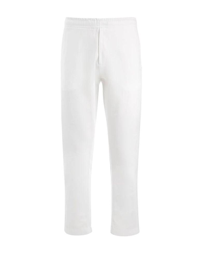 Linen Cotton + Sweatshirt Pants in White