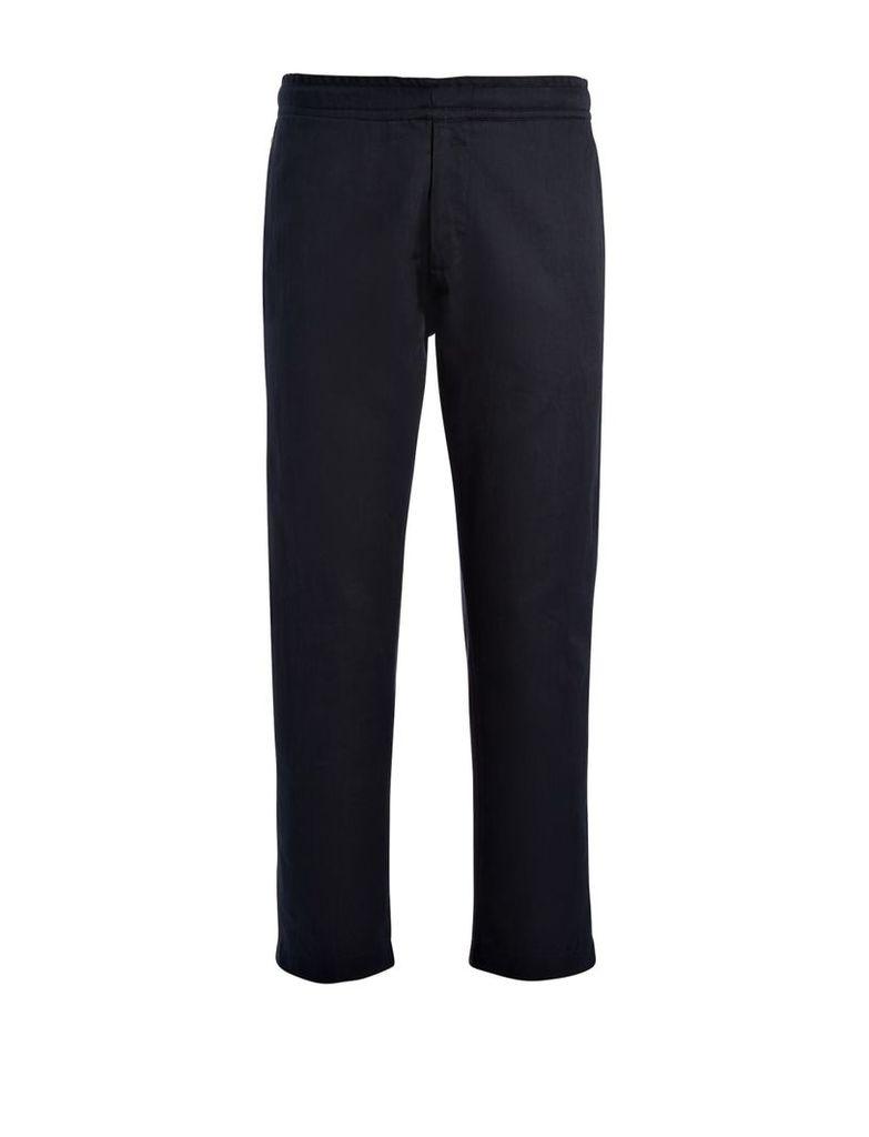Linen Cotton + Sweatshirt Pants in Navy