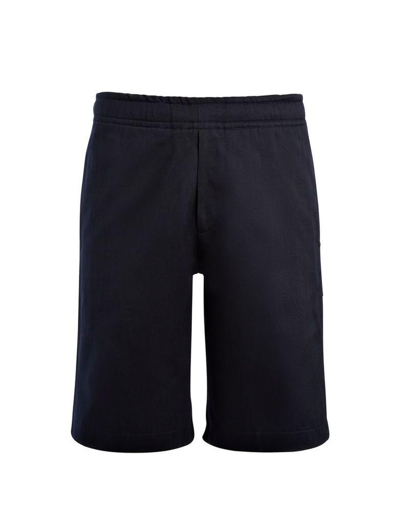 Linen Cotton + Sweatshirt Shorts in Navy
