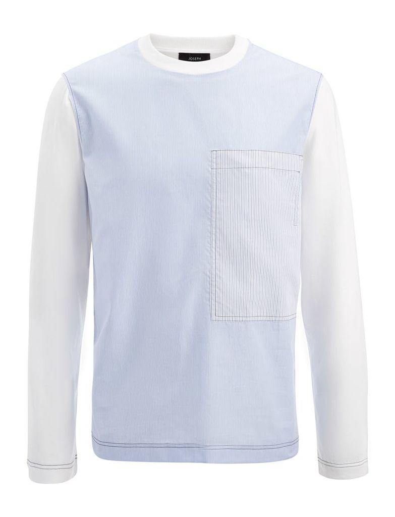 Workwear Stripe Jersey Top in Sky Blue