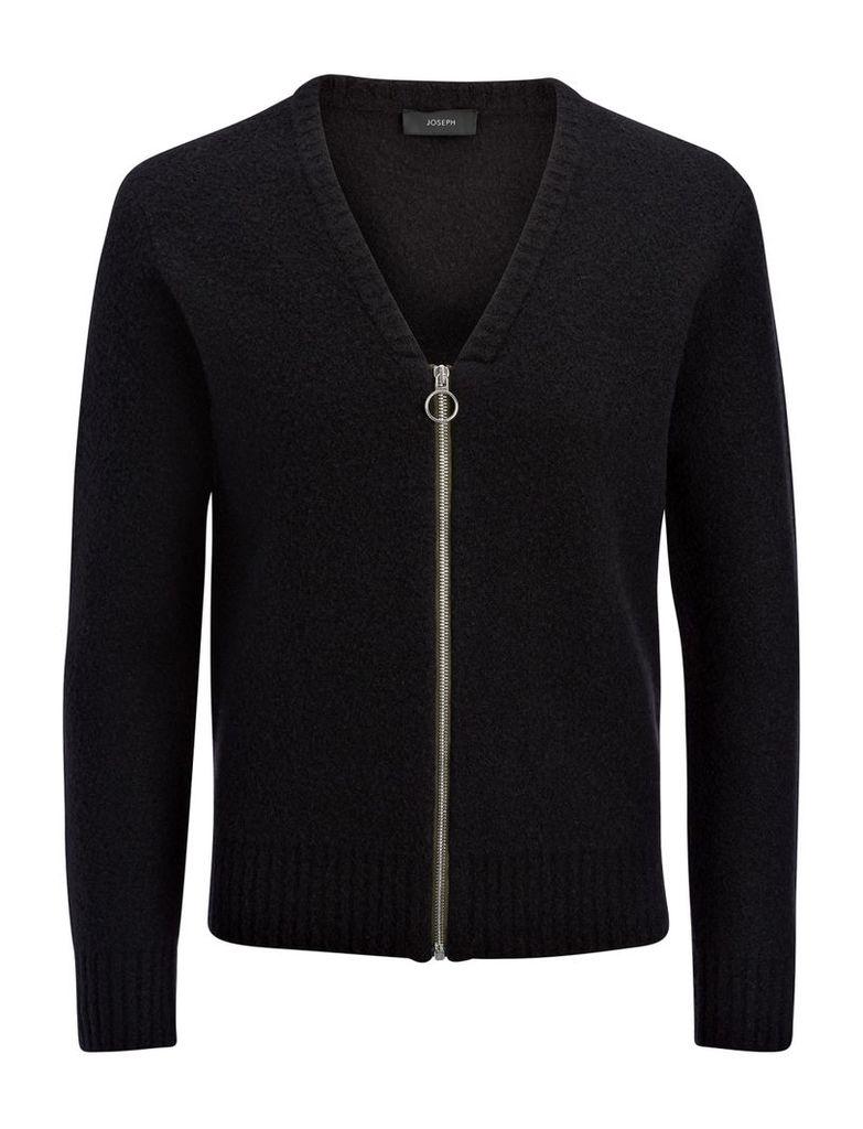 Boiled Knit Zip Cardigan in Black