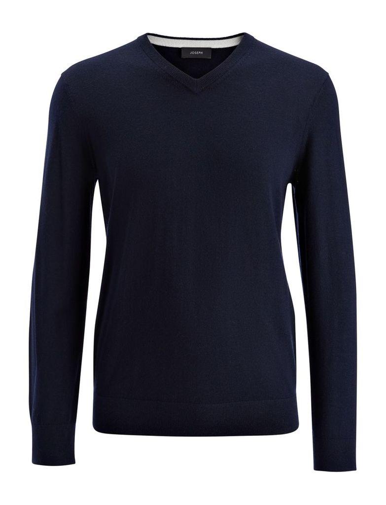 Merinos + Suede Patch V Neck Sweater in Navy