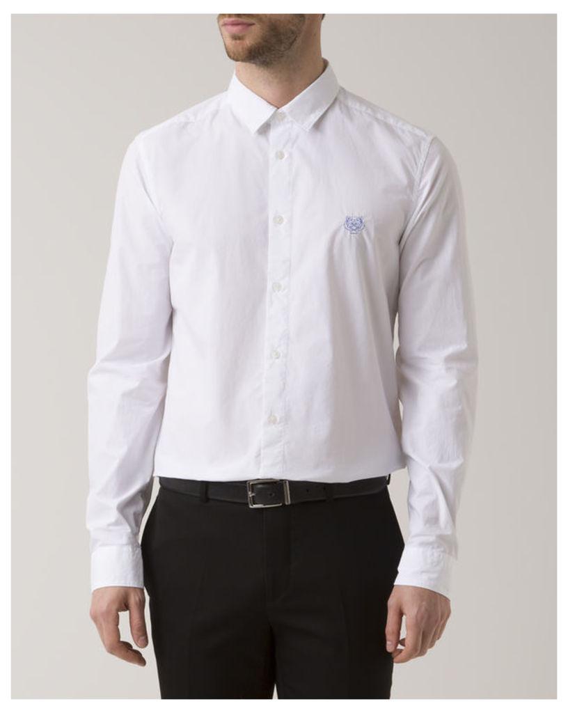 White Slim-Fit Poplin Tiger Logo Shirt