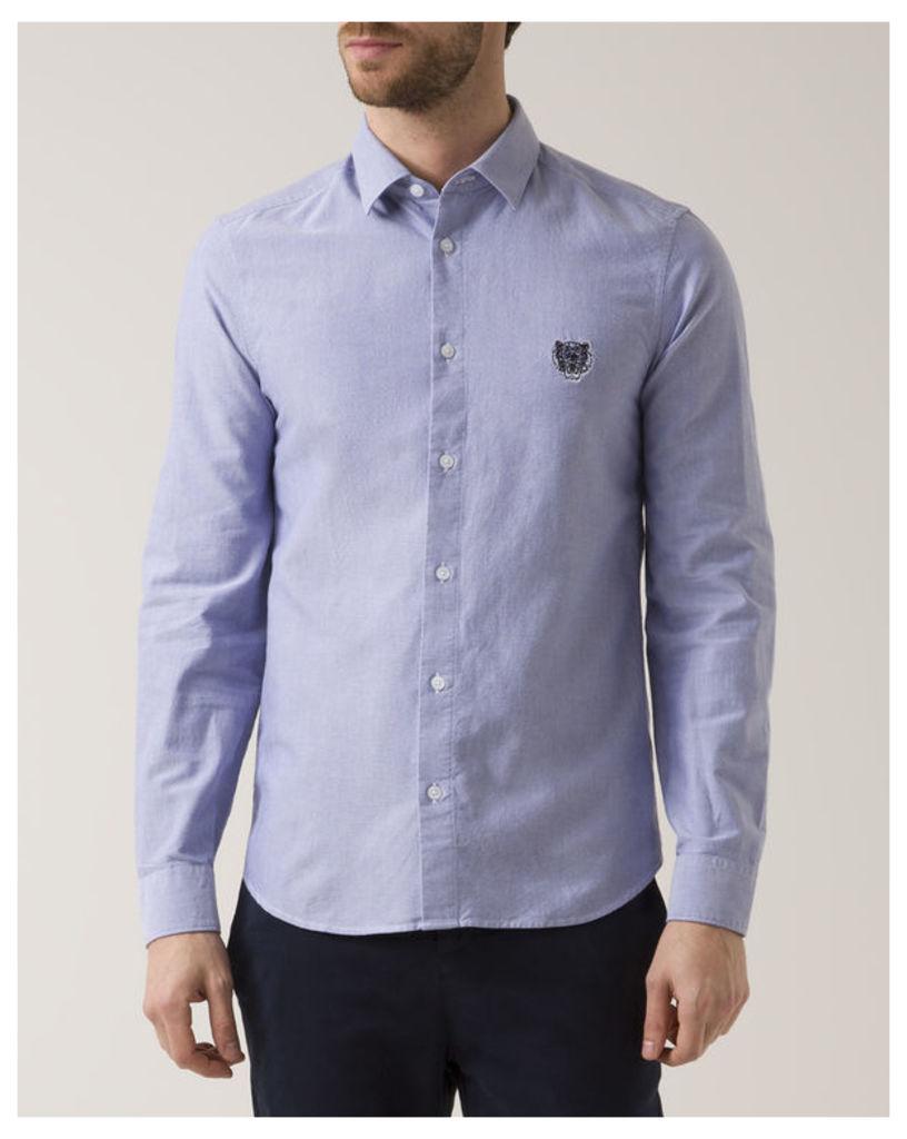 Blue Slim-Fit Oxford Tiger Logo Shirt