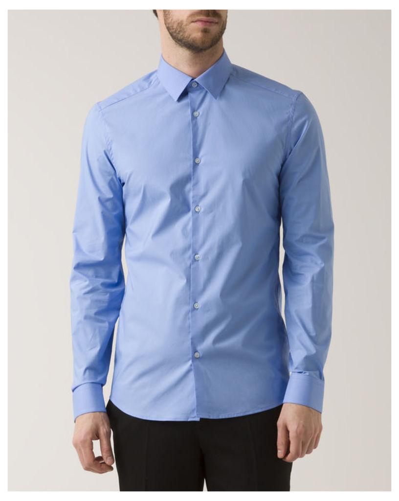 Blue Slim-Fit Poplin Shirt