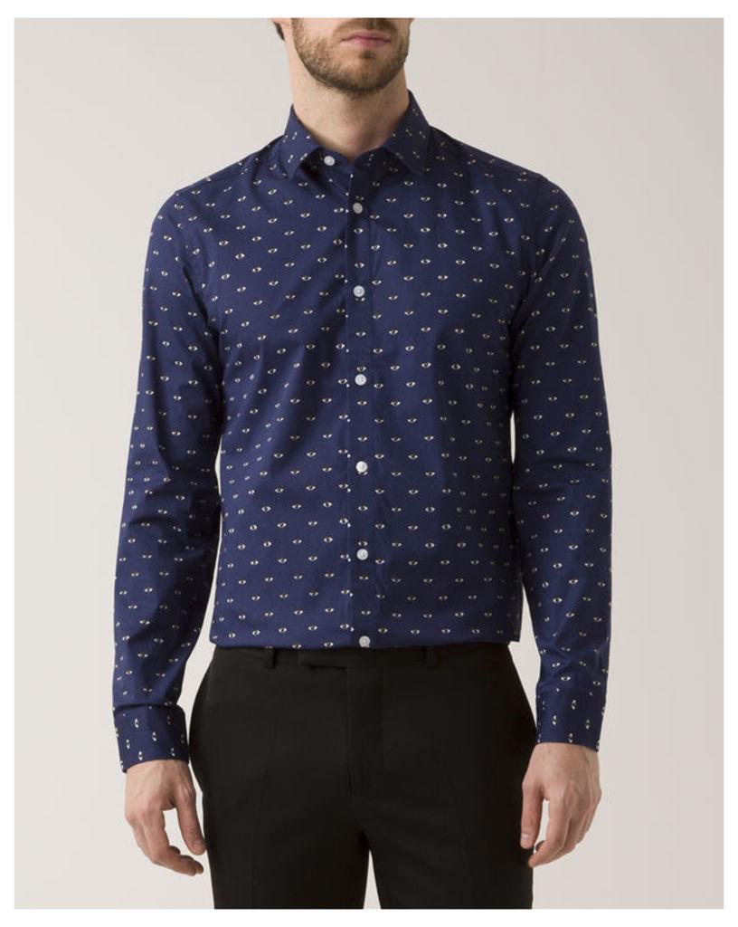 Navy Blue Slim-Fit Poplin All Over Eye Print Shirt