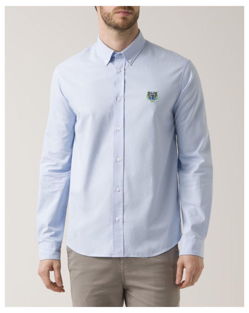 Sky Blue Slim-Fit Twill Tiger Logo Shirt
