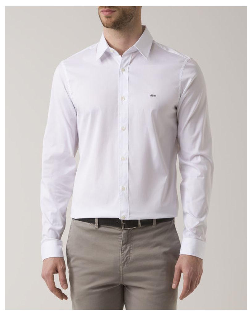 White Slim-Fit Stretch Poplin Chest Logo Shirt