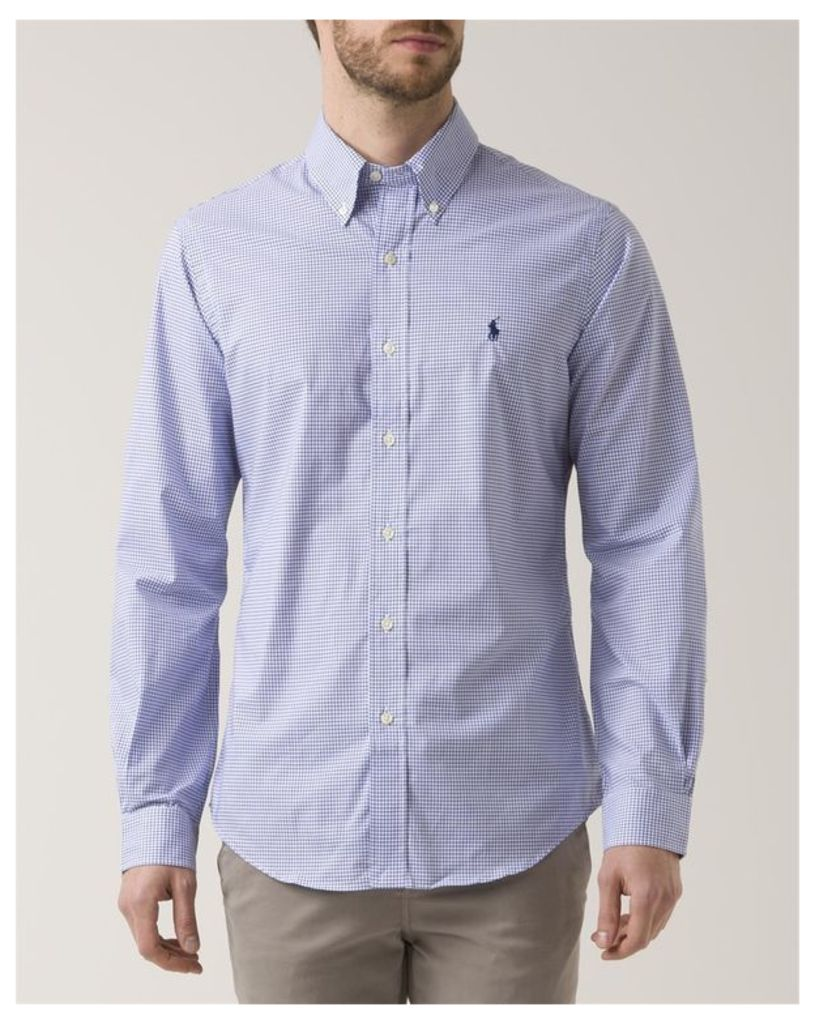 White Checkered Slim Fit Poplin Shirt