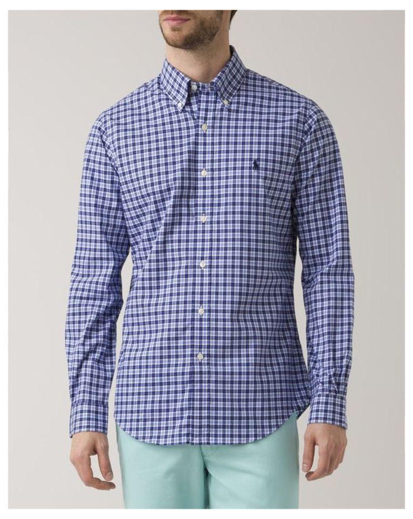 Blue Checkered Slim Fit Poplin Shirt