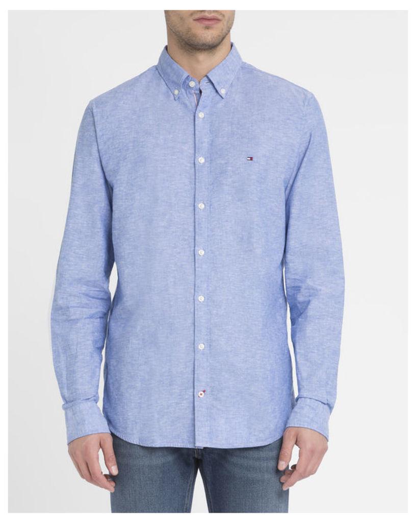 Blue Chambray Linen Cotton Shirt