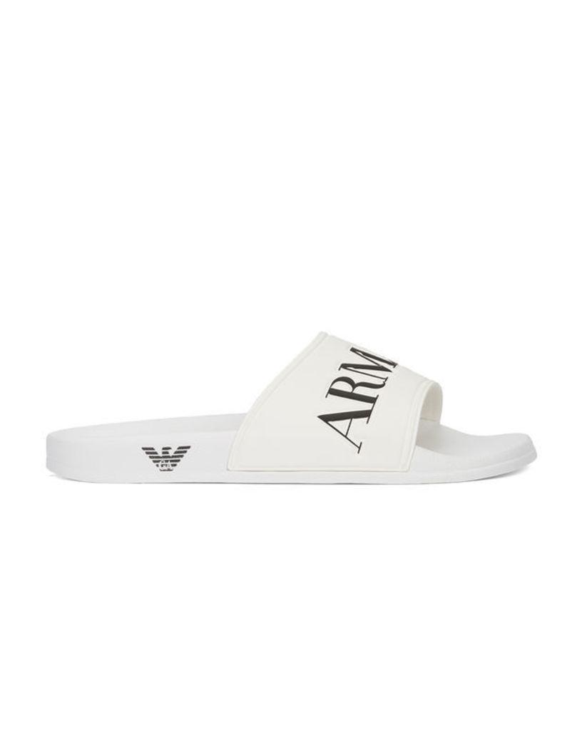 White AJ Flip Flops with Logo