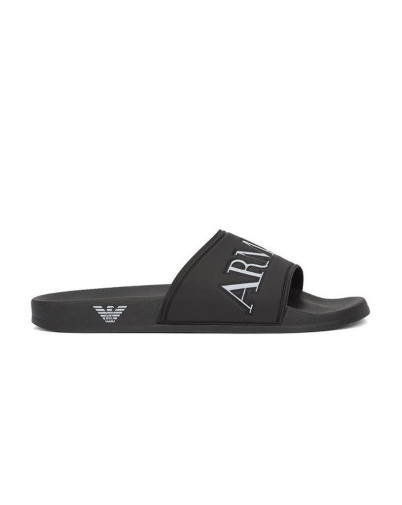 Black AJ Flip Flops with Logo