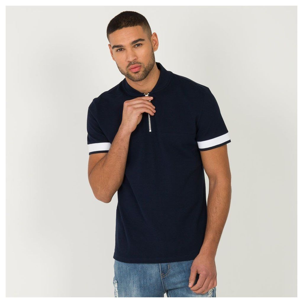 Maniere De Voir; Panelled Polo Shirt - Navy