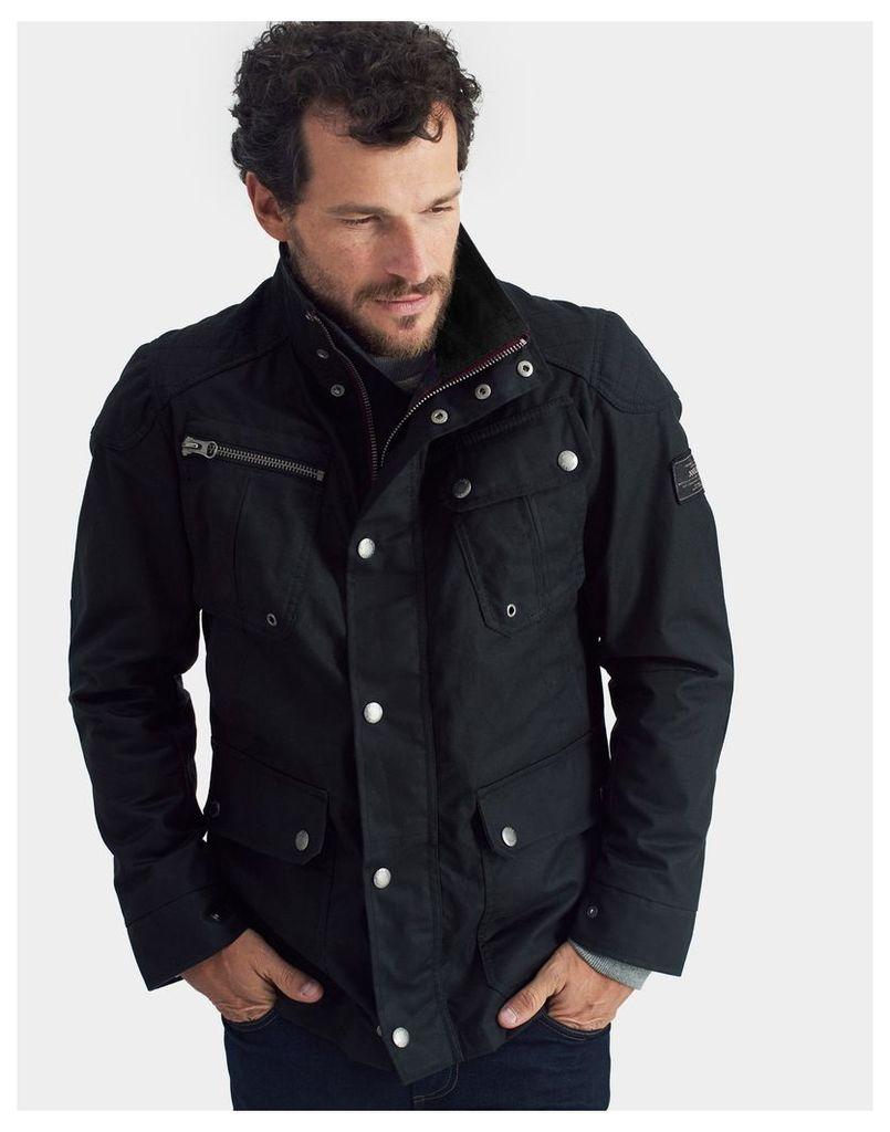 Black Lockhart Waxed Biker Jacket  Size L | Joules UK