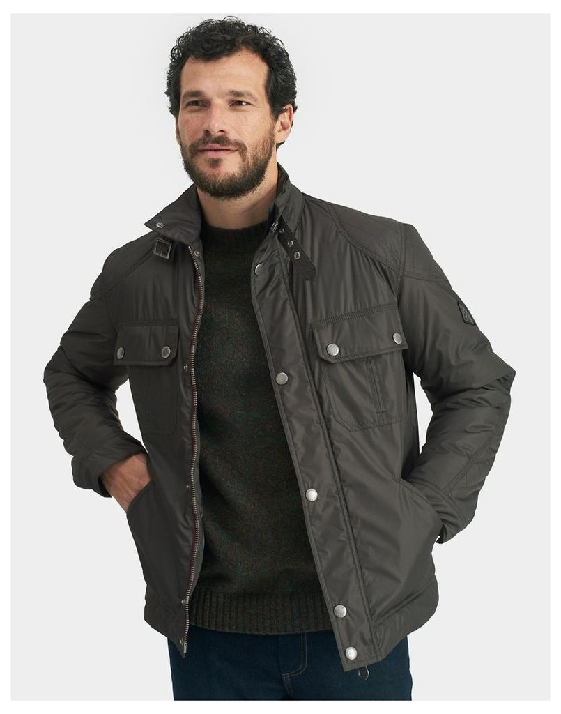 Black Olive Harley Biker-Style Bomber Jacket  Size L | Joules UK