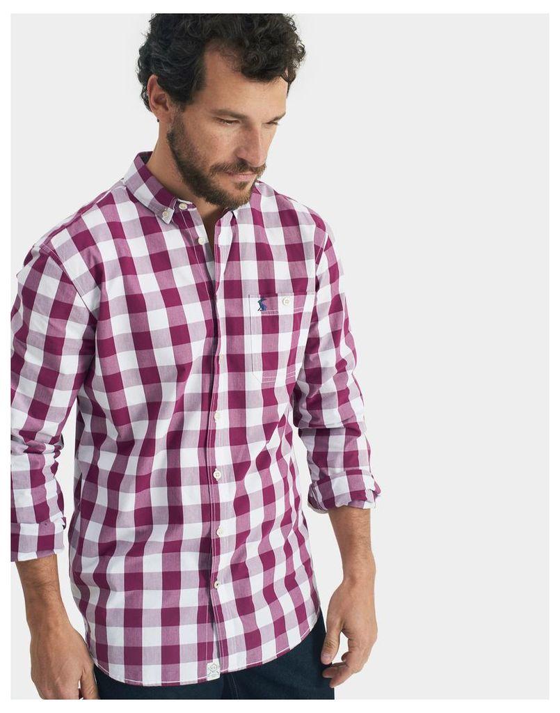 Dark Purple Gingham Hewney Classic Fit Shirt  Size S | Joules UK