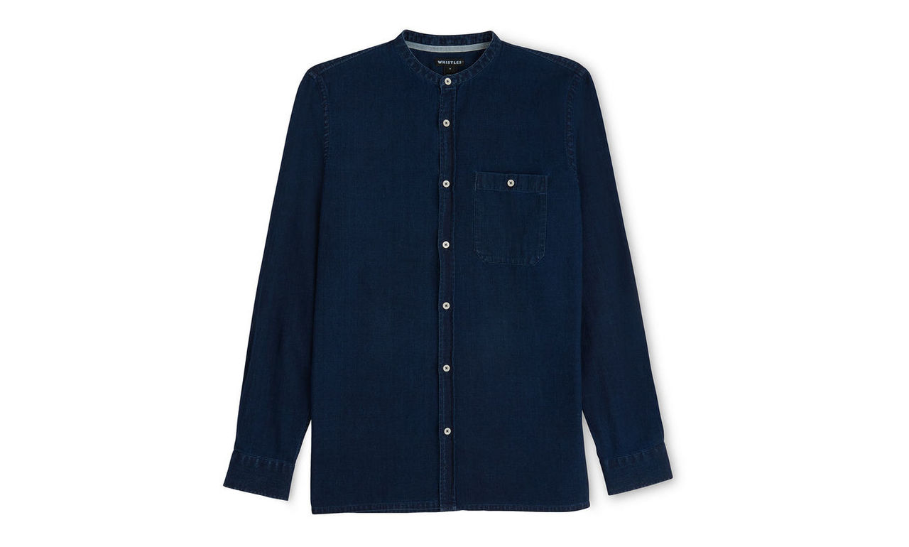 Collarless Indigo Shirt