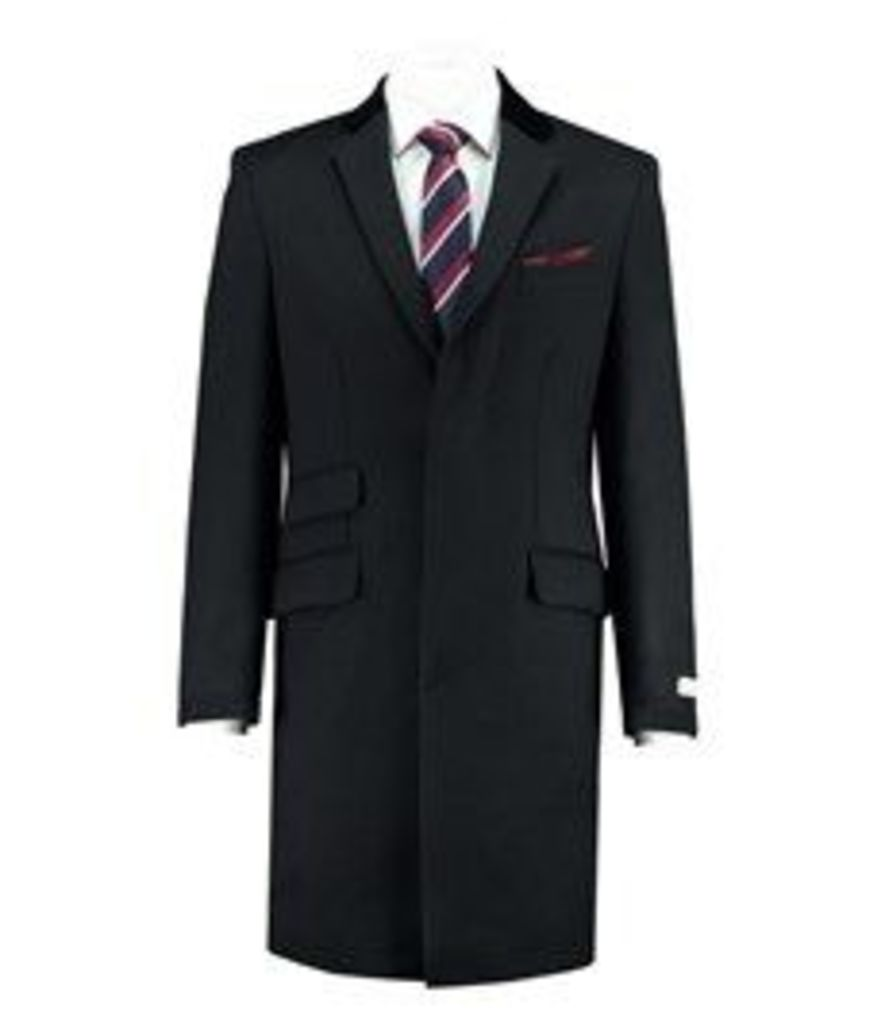 Men's Black Covert Coat - 100% Wool