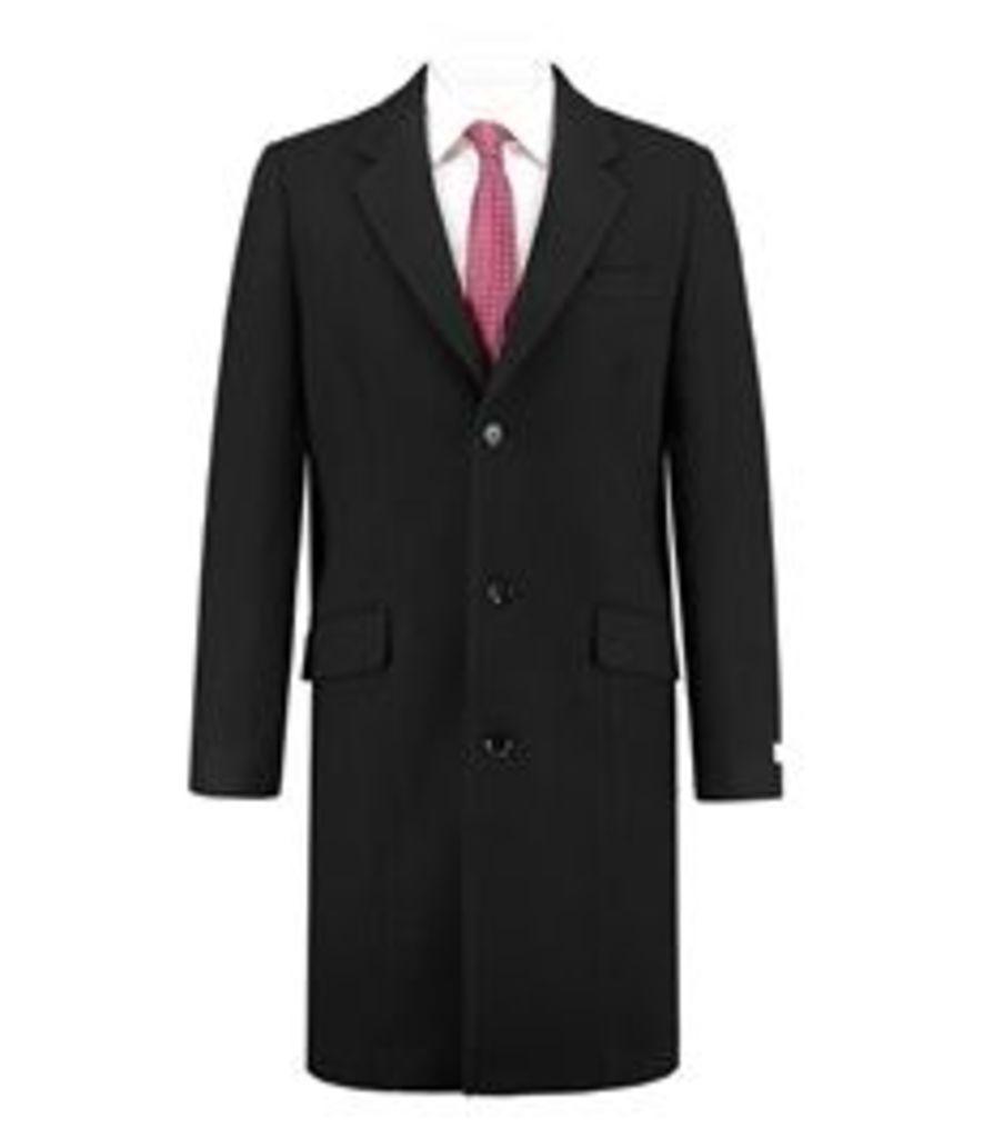 Men's Black Melton Coat