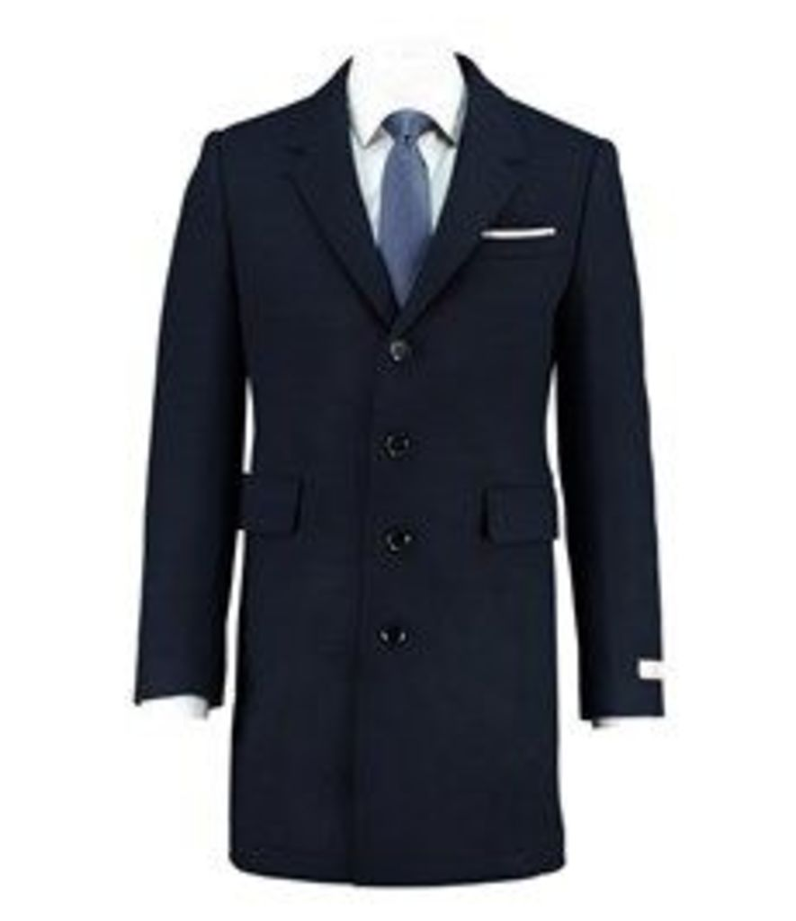 Men's Navy Half Lined Knitted Coat