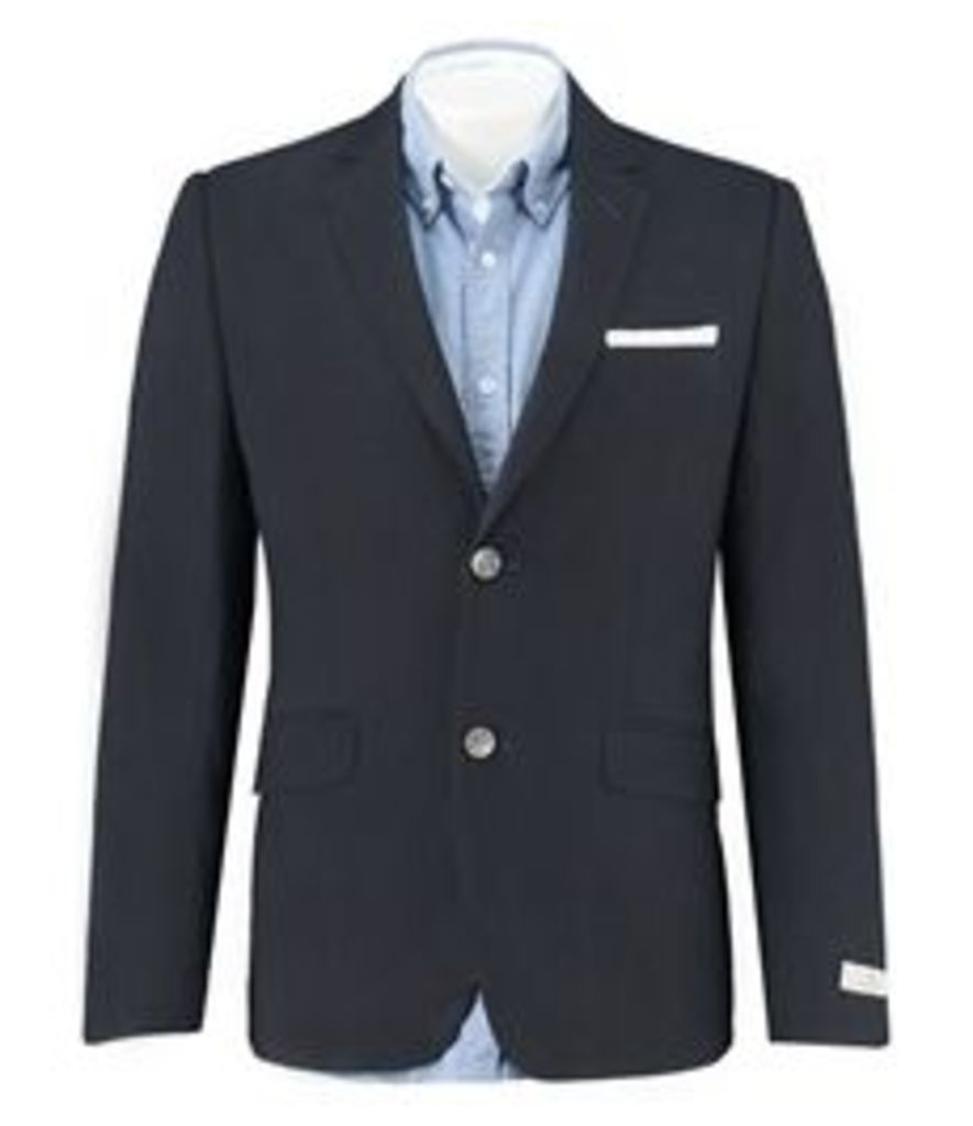 Men's Navy Linen Slim Fit Blazer
