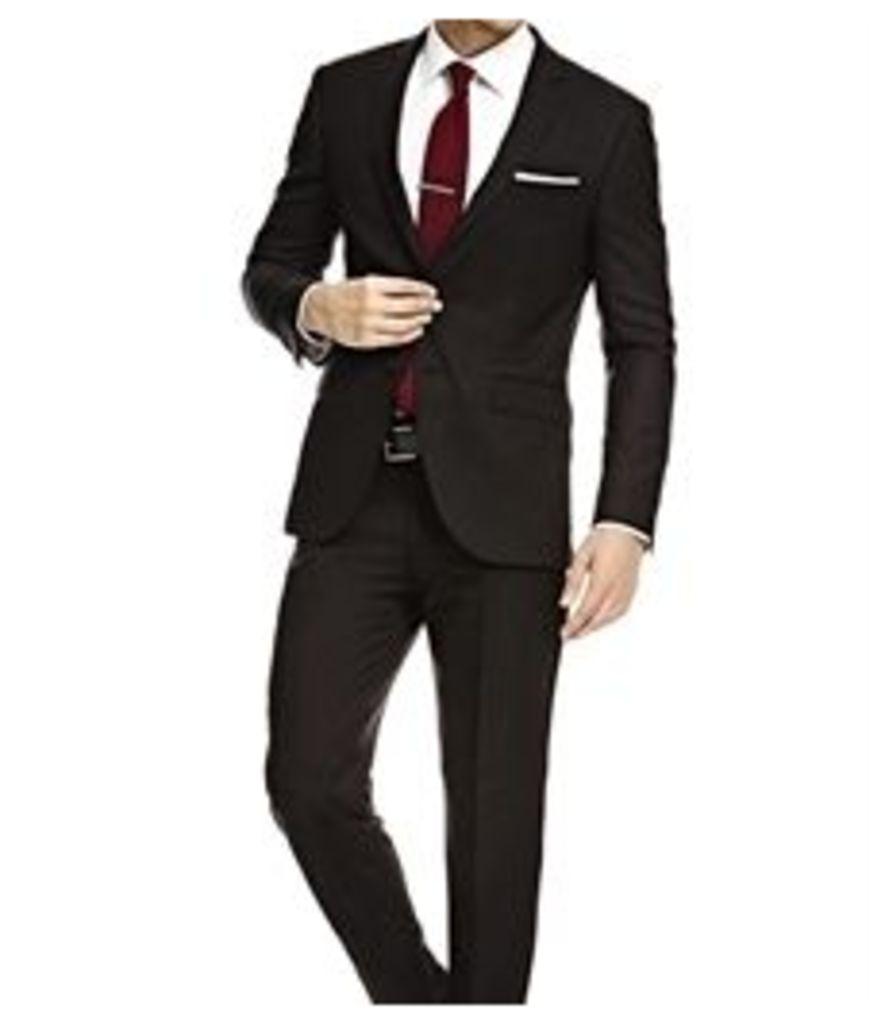 Men's Black Twill Slim Fit Suit - Super 120s Wool