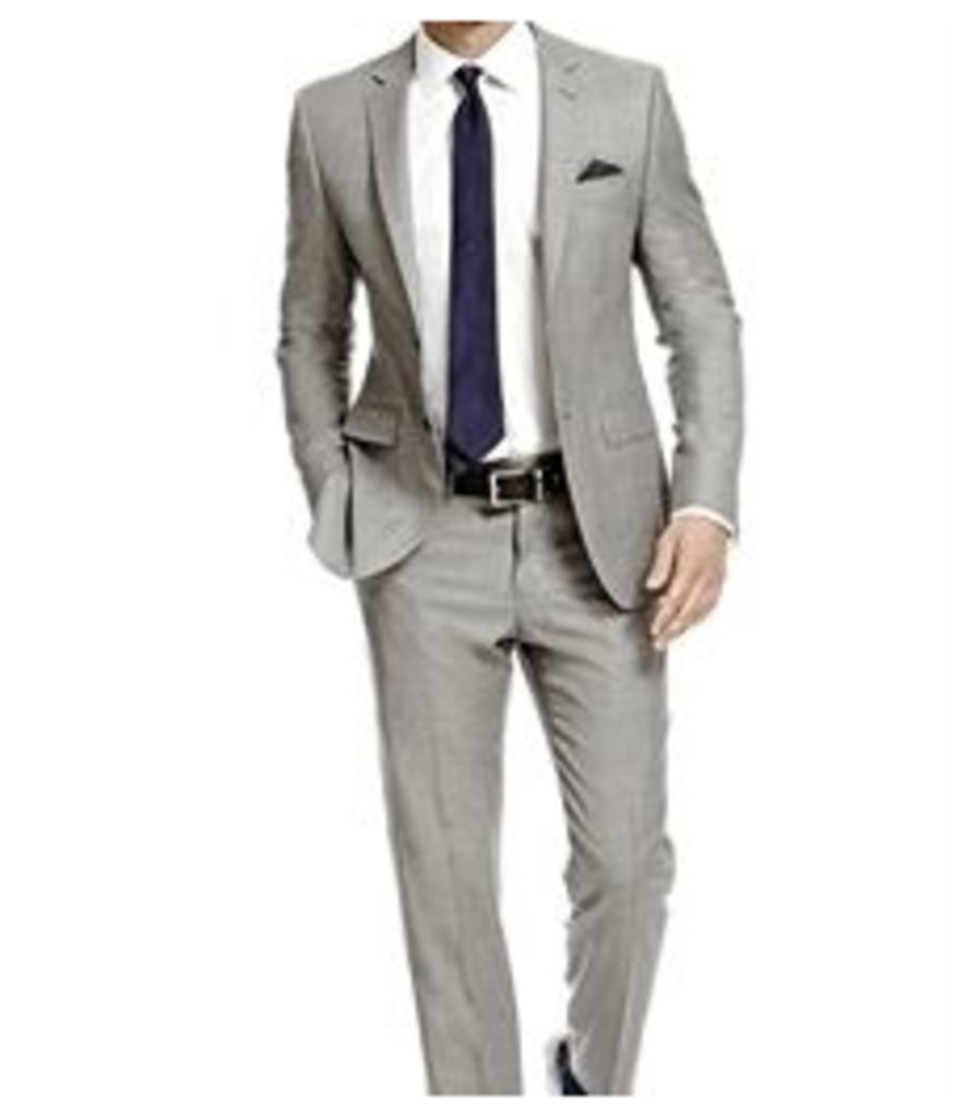 Men's Grey Twill Slim Fit Suit - Super 120s Wool