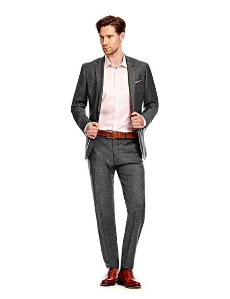 Men's Charcoal Twill Slim Fit Suit - Super 120s Wool