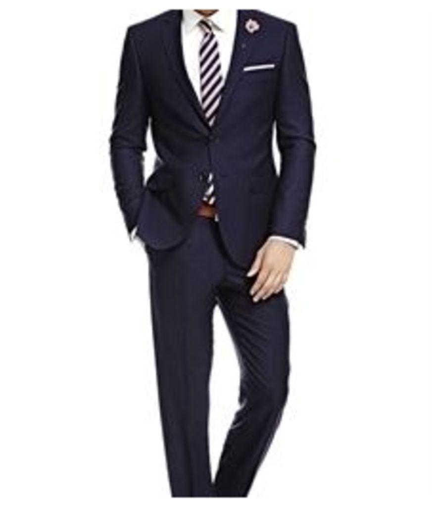 Men's Navy Fine Stripe Slim Fit Suit - Super 120s Wool
